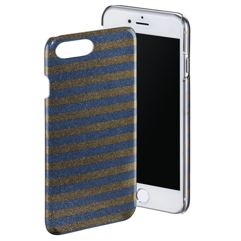 Hama Glamorous Stripes Cover for iPhone 6 Plus/6s Plus/7 Plus, blue/bronze