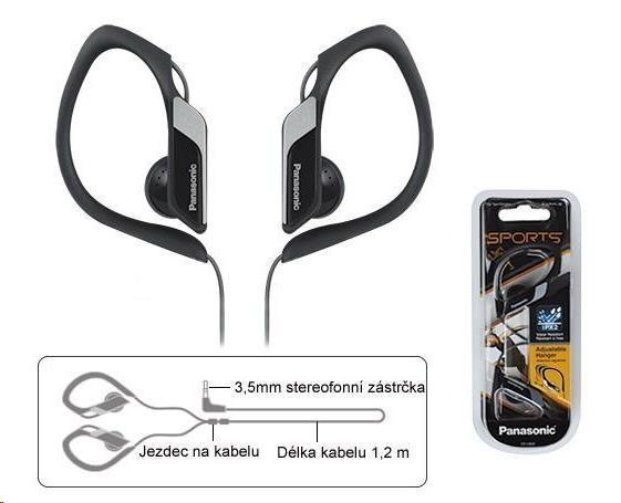 Panasonic stereo sluchátka RP-HS34E-K, 3,5 mm jack, černá