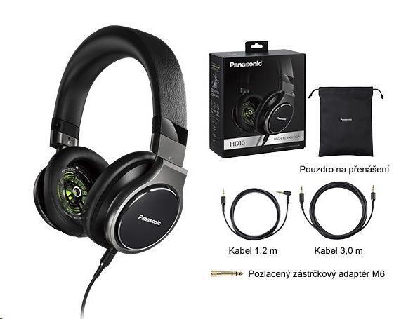Panasonic stereo sluchátka RP-HD10E-K, 3,5 mm jack, černá