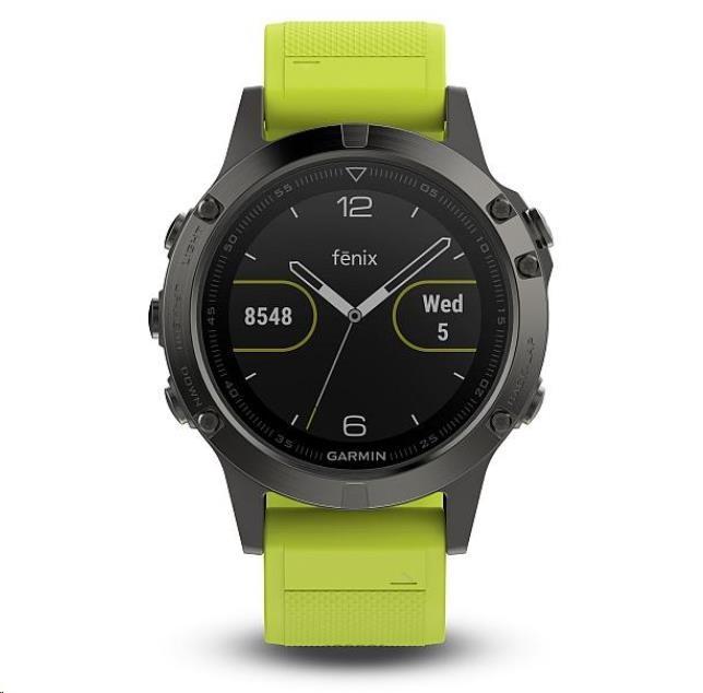 Garmin GPS sportovní hodinky fenix5 Gray Optic, žlutý řemínek