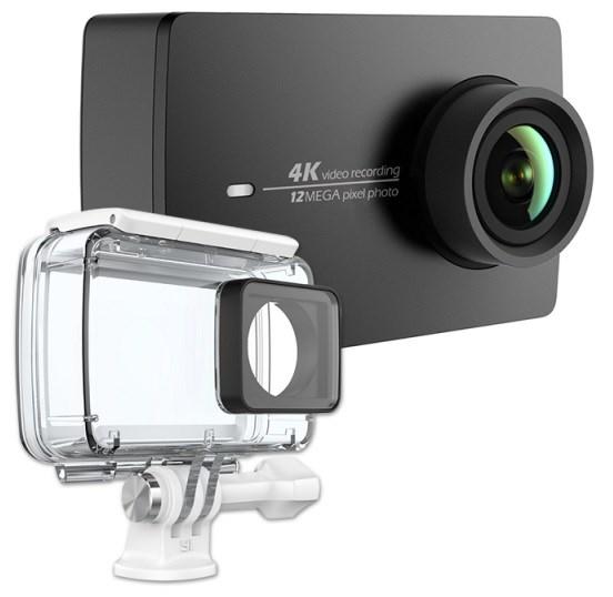 YI 4K Action Camera Kit - set, akční sportovní kamera, 4K rozlišení, černá + voděodolný kryt - BAZAR z opravy
