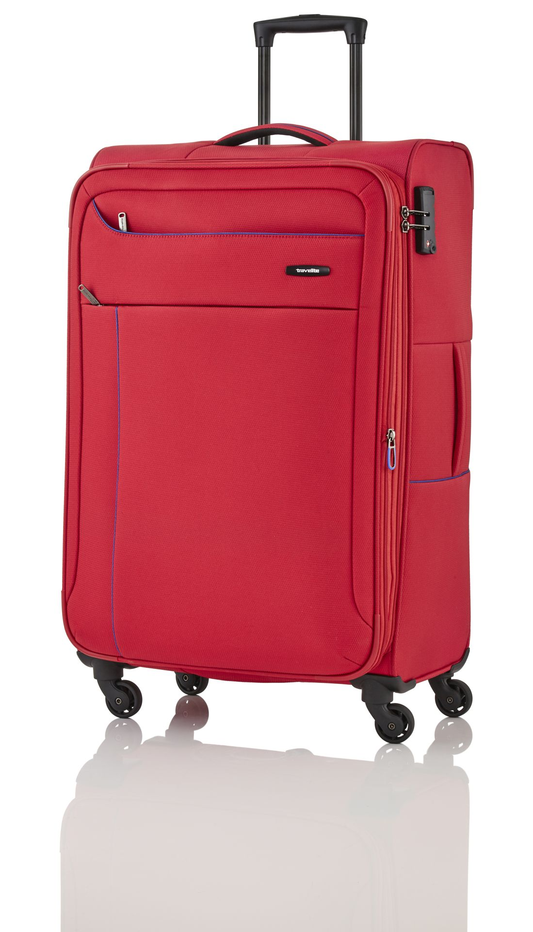 Travelite Solaris 4w S,M,L Red/blue – sada 3 kufrů + BB