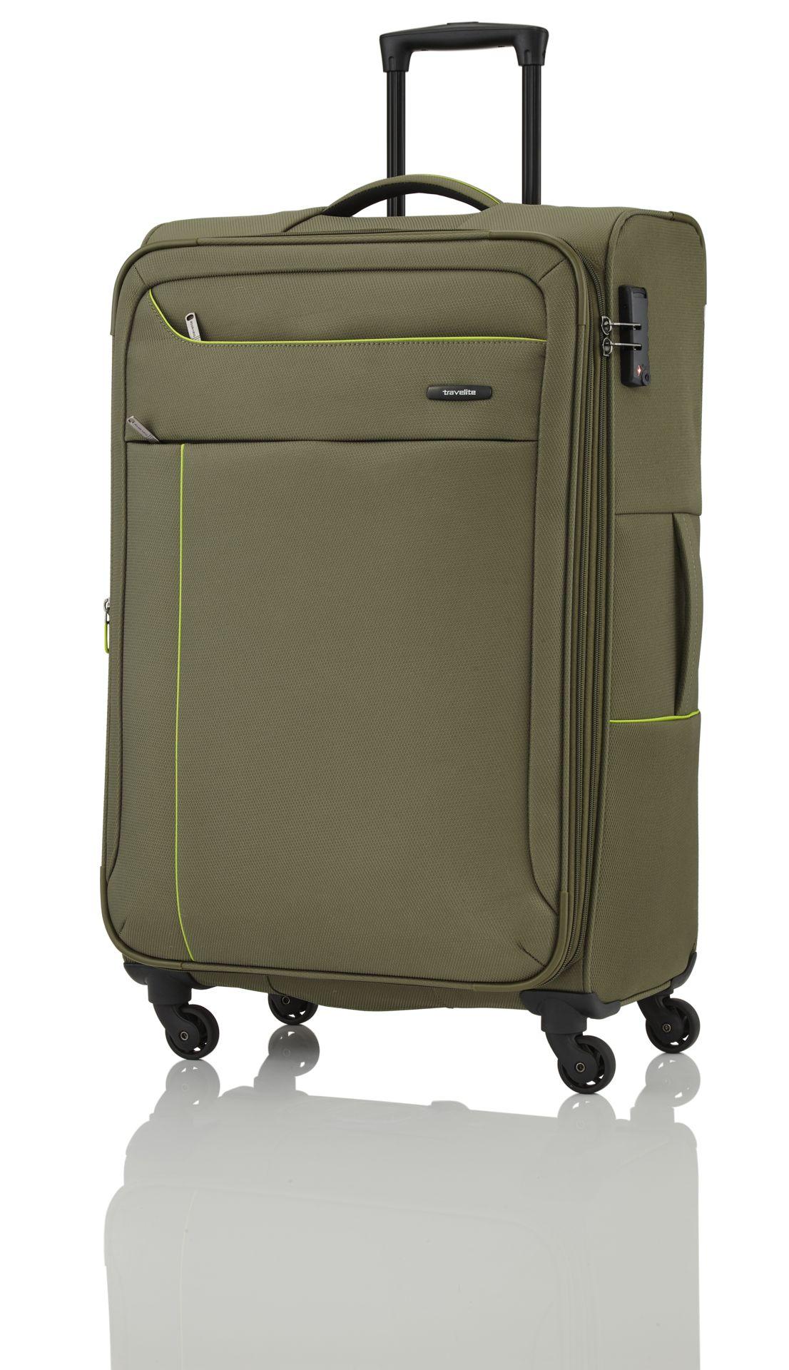 Travelite Solaris 4w S,M,L Olive/lemon – sada 3 kufrů + BB