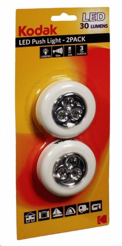 LED svítilny PushLight Kodak - 3LED, dosvit 10m, 30lm,s lepící podložkou, 2ks v balení