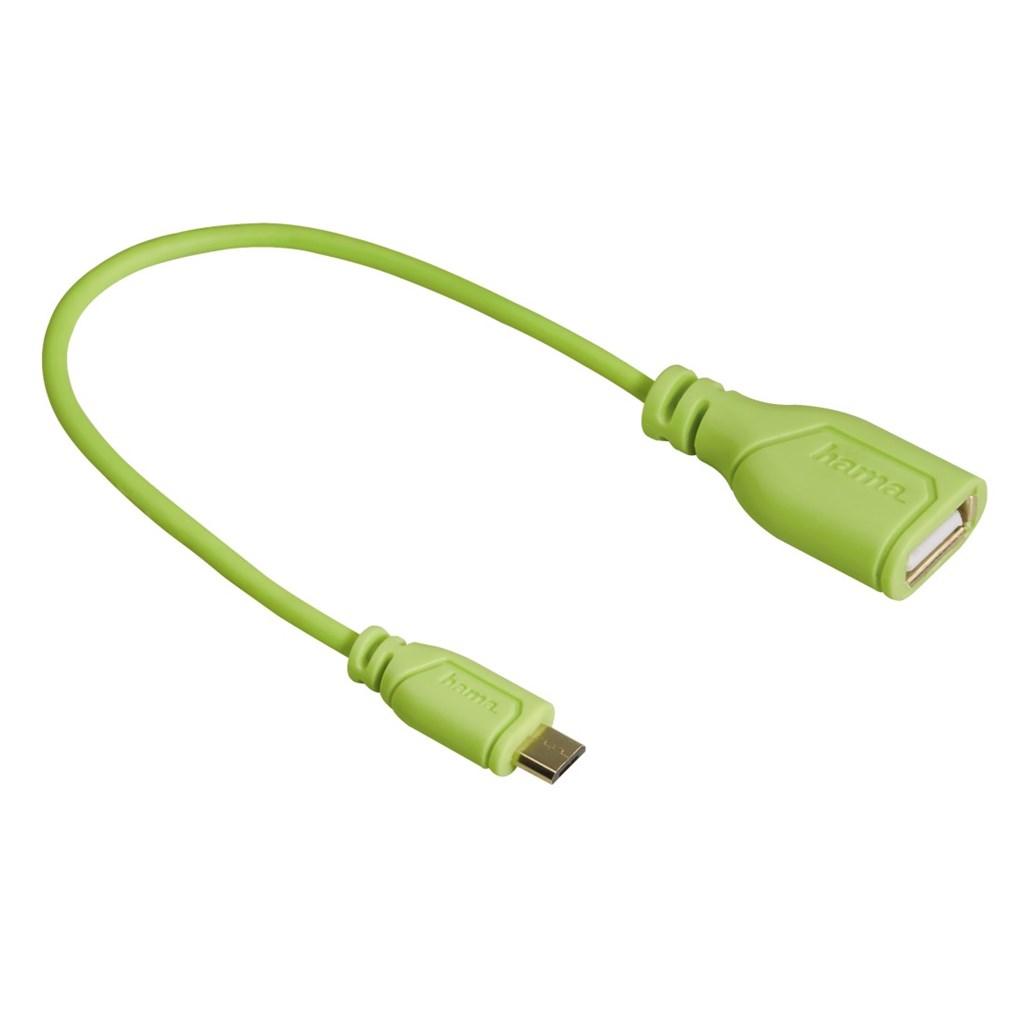 Hama micro USB OTG redukce Flexi-Slim, oboustranný konektor, 15 cm, zelená