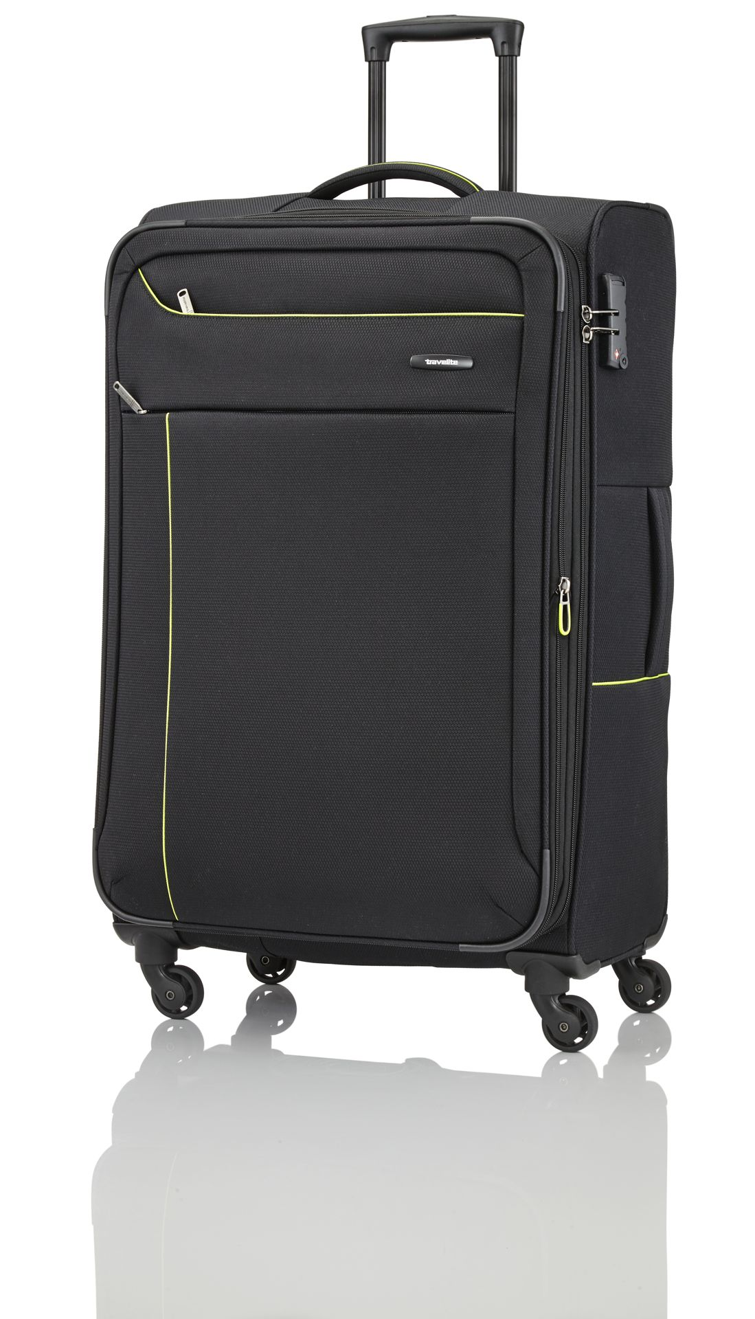 Travelite Solaris 4w S,M,L Black/lemon – sada 3 kufrů + BB