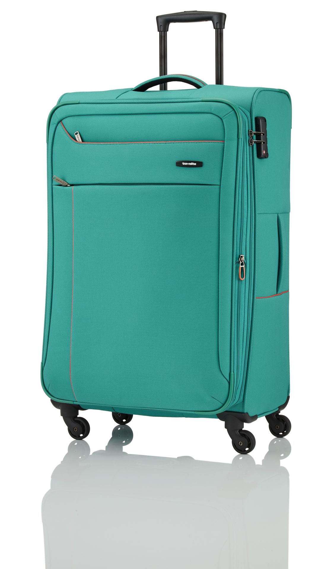 Travelite Solaris 4w S,M,L Aqua/orange – sada 3 kufrů + BB