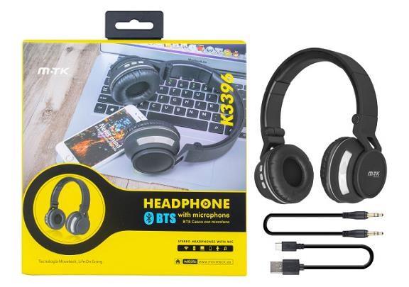 PLUS Bluetooth stereo sluchátka K3396 s integrovaným mikrofonem, šedá