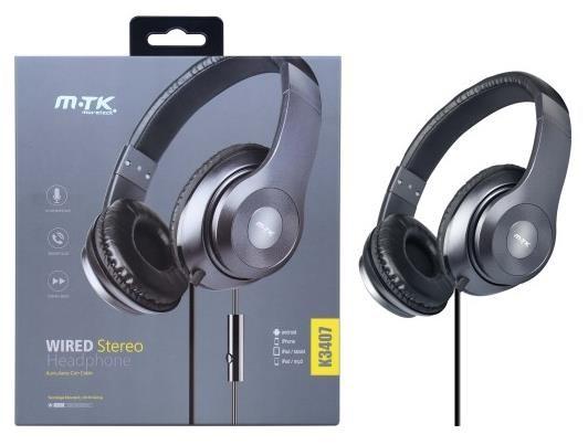 PLUS stereo sluchátka K3407, 3,5 mm jack, šedá
