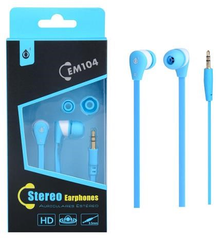 PLUS stereo sluchátka EM104, 3,5 mm jack, modrá