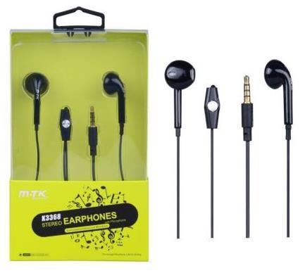 PLUS stereo sluchátka s mikrofonem K3368, 3,5 mm jack, černá