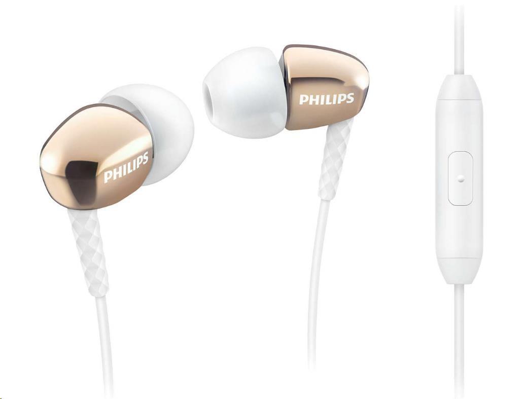 Philips SHE3905GD/00 Sluchátka do uší s mikrofonem, Kompaktní efektivní reproduktory pro silny´ zvuk a bohaté basy