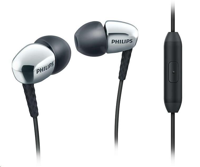 Philips SHE3905SL/00 Sluchátka do uší s mikrofonem, Kompaktní efektivní reproduktory pro silny´ zvuk a bohaté basy