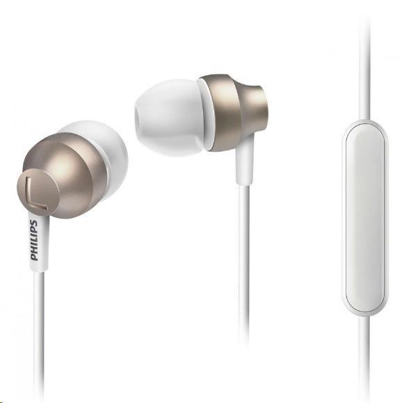 Philips SHE3855GD/00 Sluchátka do uší s mikrofonem, Vy´konné reproduktory přenáší čisty´ zvuk a vy´razné basy