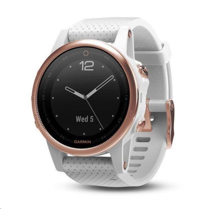 Garmin GPS sportovní hodinky fenix5S Rose Gold Optic, bílý řemínek