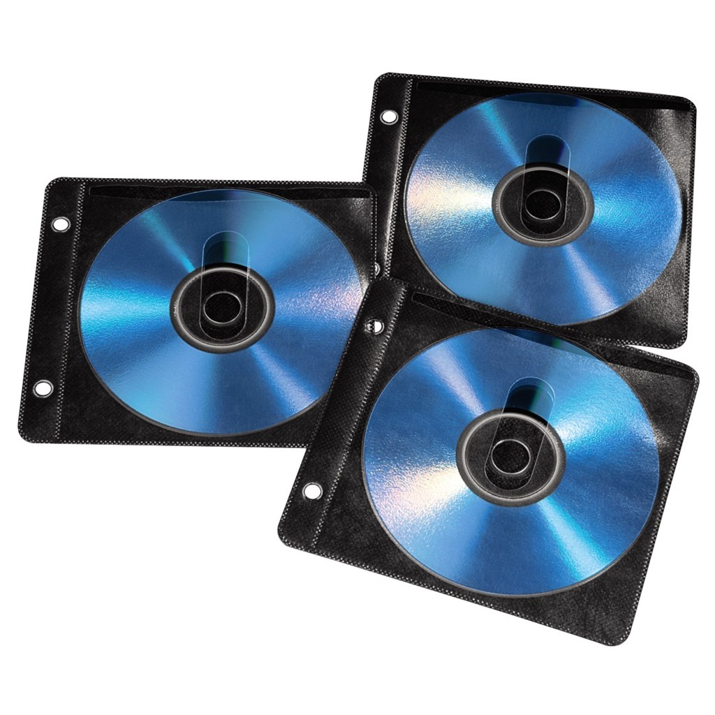 Hama CD/DVD Ring Binder Sleeves, 50 pcs./pack, black