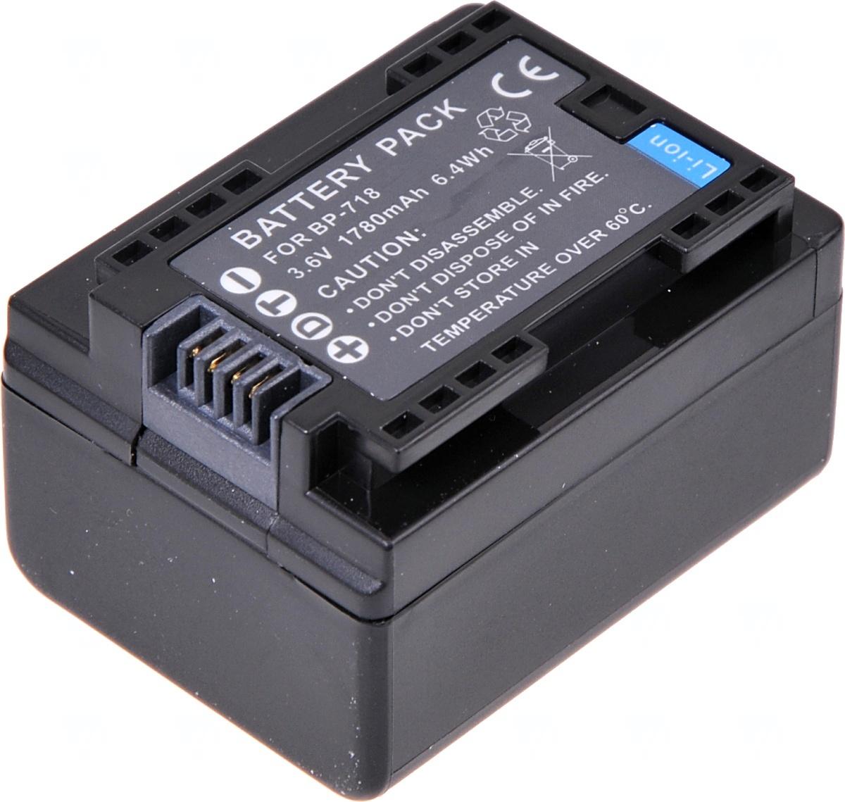 Baterie T6 power Canon BP-718, 1780mAh, černá