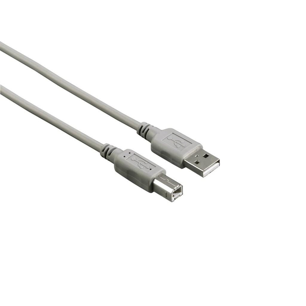 Hama USB kabel typ A-B, 3m, šedý, nebalený