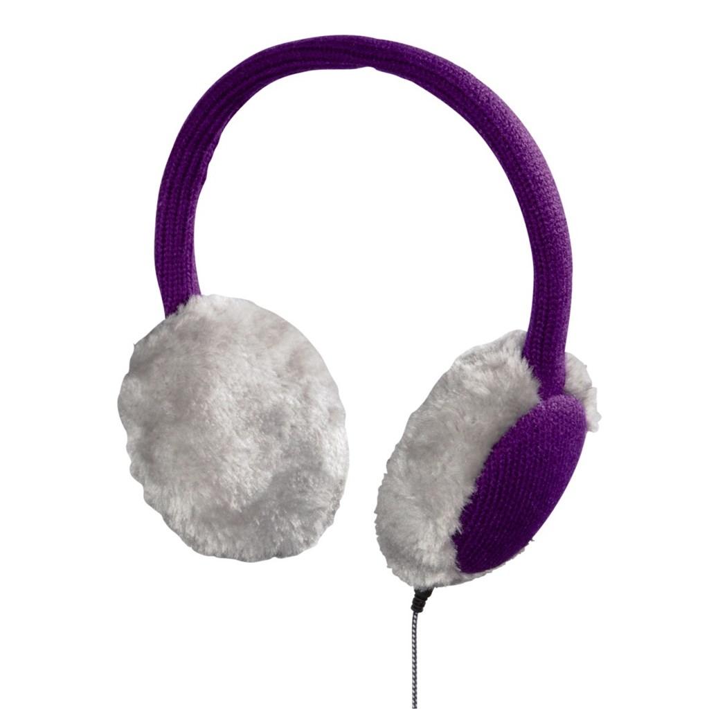 Hama klapky na uši se sluchátky a mikrofonem, pletené, fialové