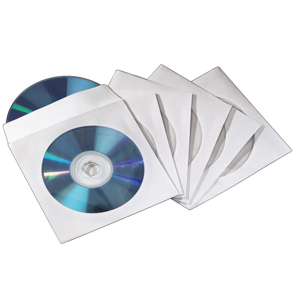 Hama ochranný obal pro 2 CD/DVD, 100ks/bal, bílý, samolepící