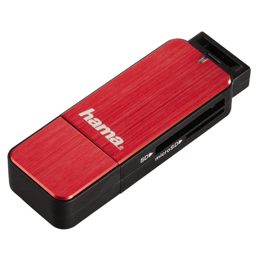 Hama USB 3.0 SD/microSD, červená
