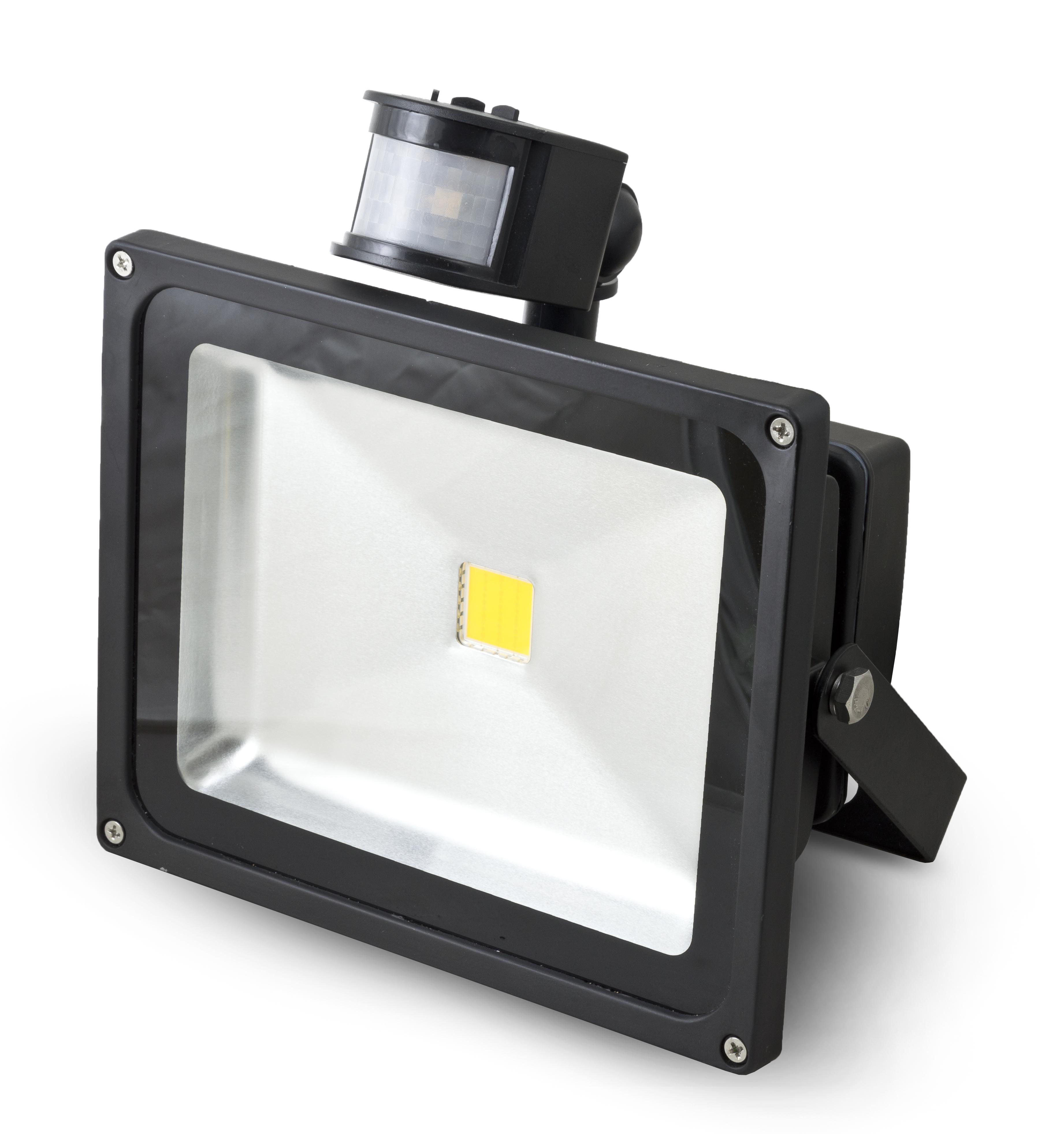 Reflektor G21 LED 30W teplá bílá, 2104 lm - černý s PIR čidlem
