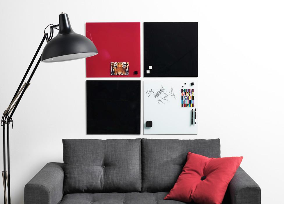 Skleněná magnetická tabule 45x45cm, červená