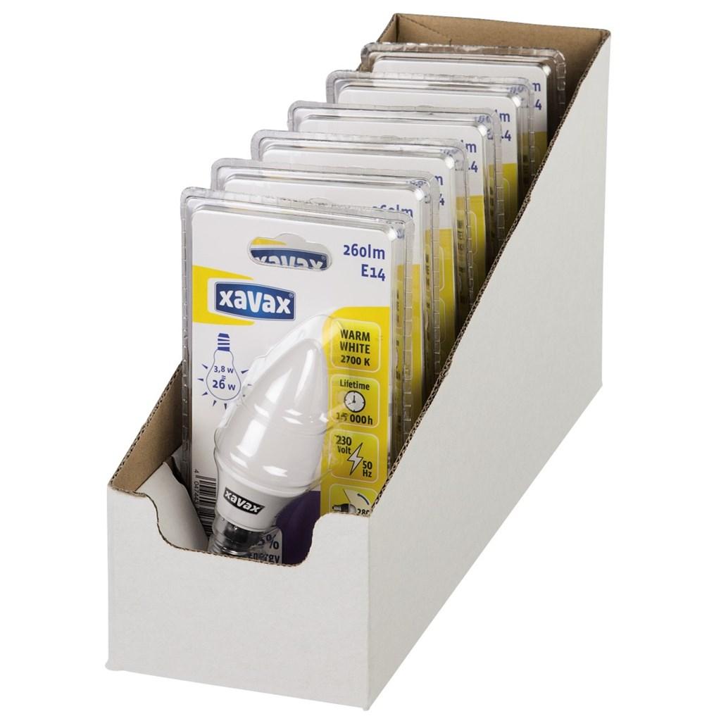Xavax LED žárovka, 3,8 W (=26 W), E14, svíčka, teplá bílá, blistr
