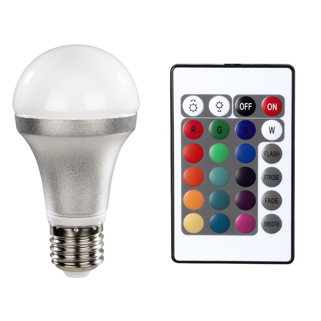 Xavax LED Bulb, E27, 4,5W, bulb shape, multi-colour with remote control