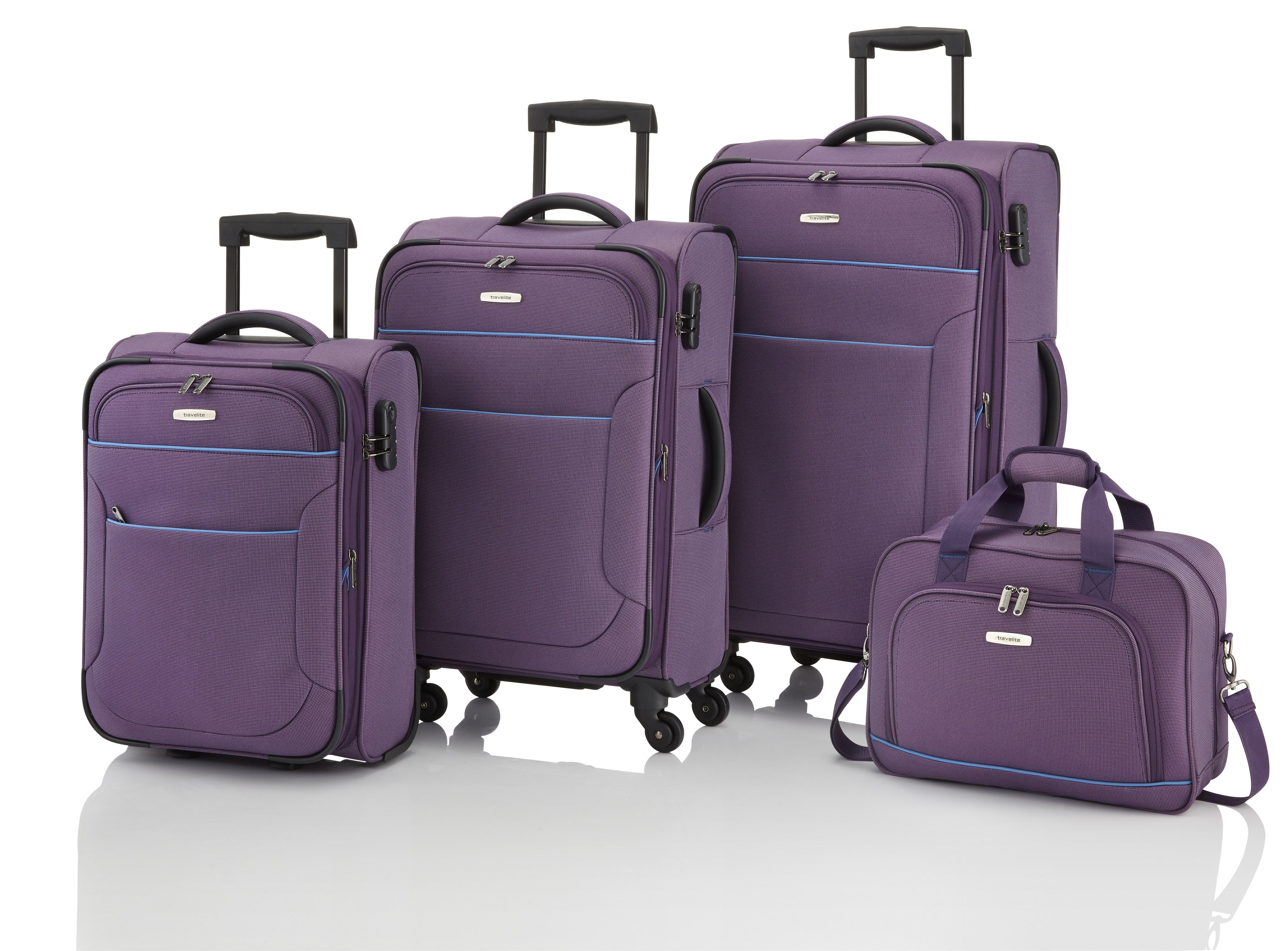 Travelite Derby 4w L/M, 2w S, BB Purple – sada 3 kufrů + Board Bag