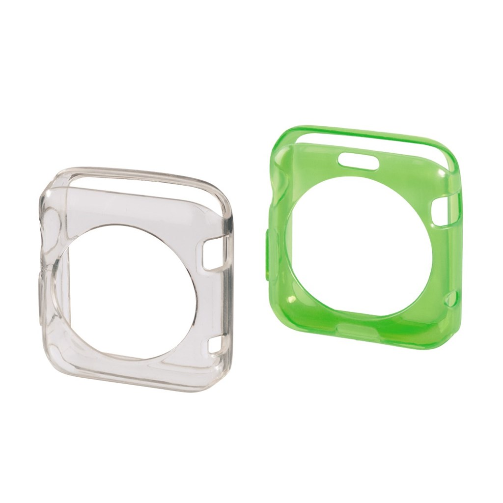 Hama Crystal Protective Cover Set for Apple Watch 38 mm, 2 pcs, transp./green