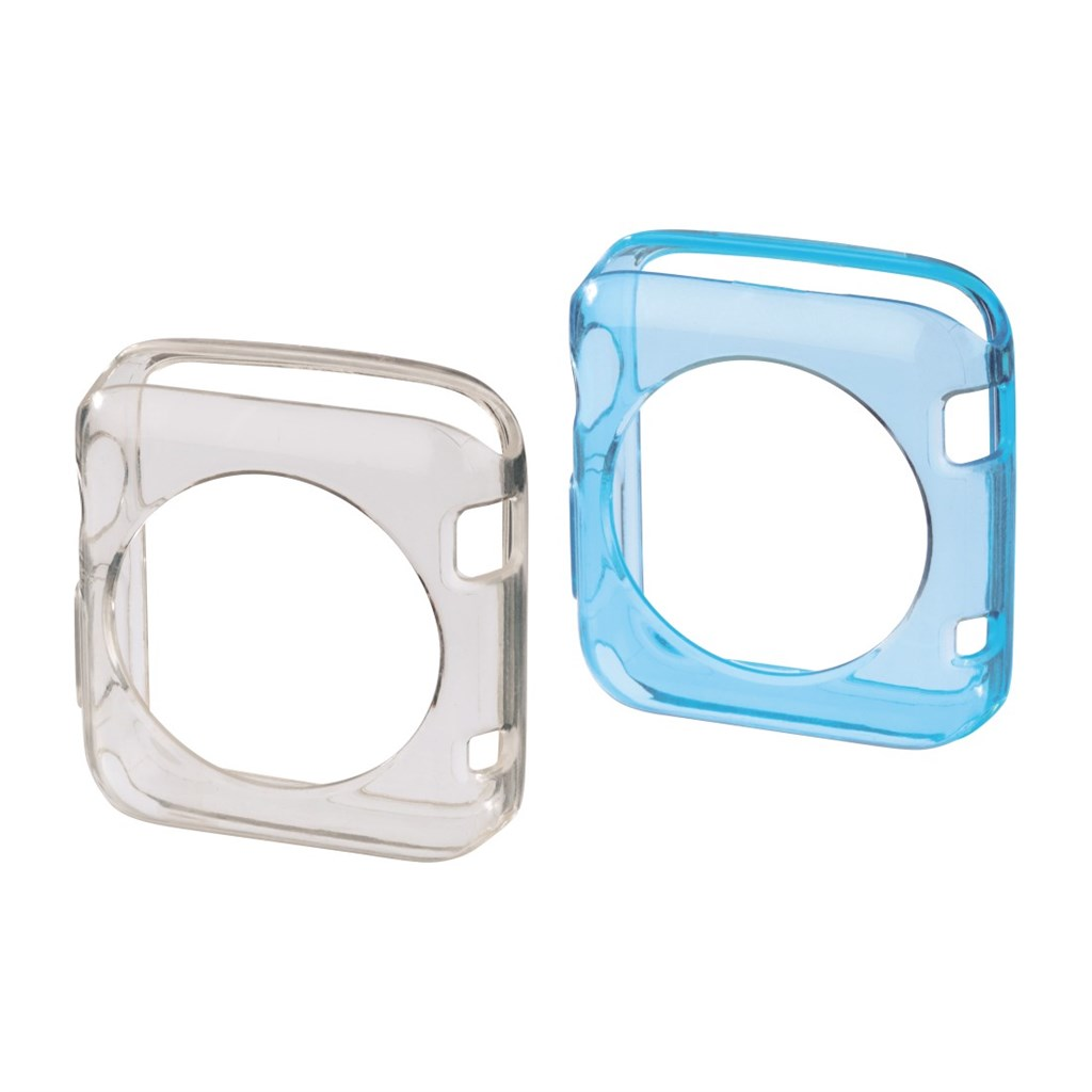 Hama Crystal Protective Cover Set for Apple Watch 38 mm, 2 pcs, transp./blue