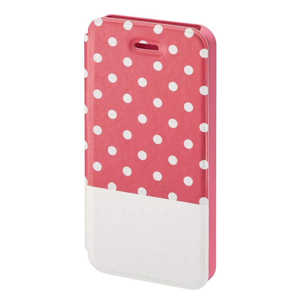 Hama Lovely Dots Booklet Case for Apple iPhone 5/5s, pink/white