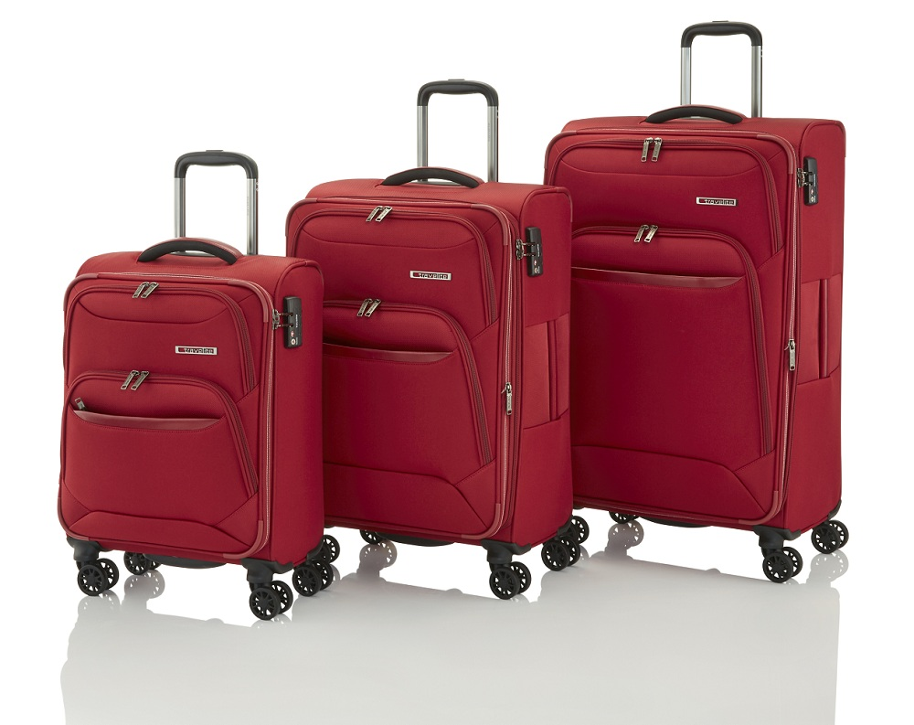Travelite Kendolite 4w S,M,L Red – sada 3 kufrů + BB