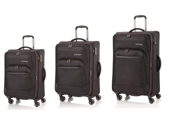 Travelite Kendolite 4w S,M,L Black – sada 3 kufrů + BB