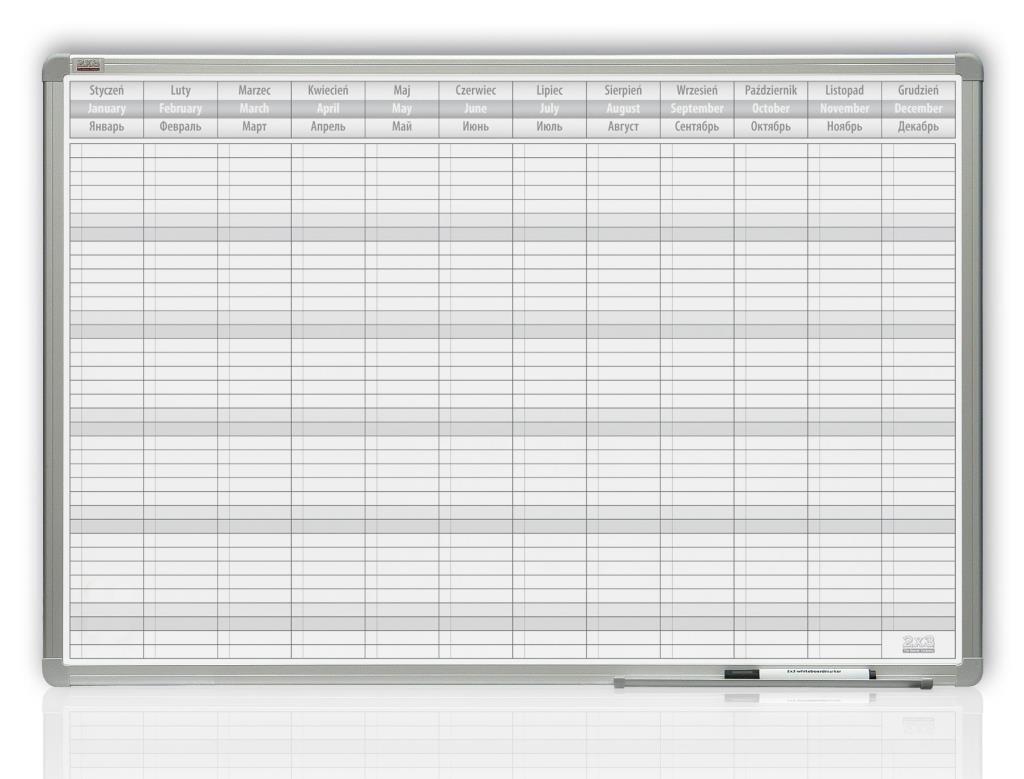 Roční plánovací tabule 90x60 PL/ENG/RUS