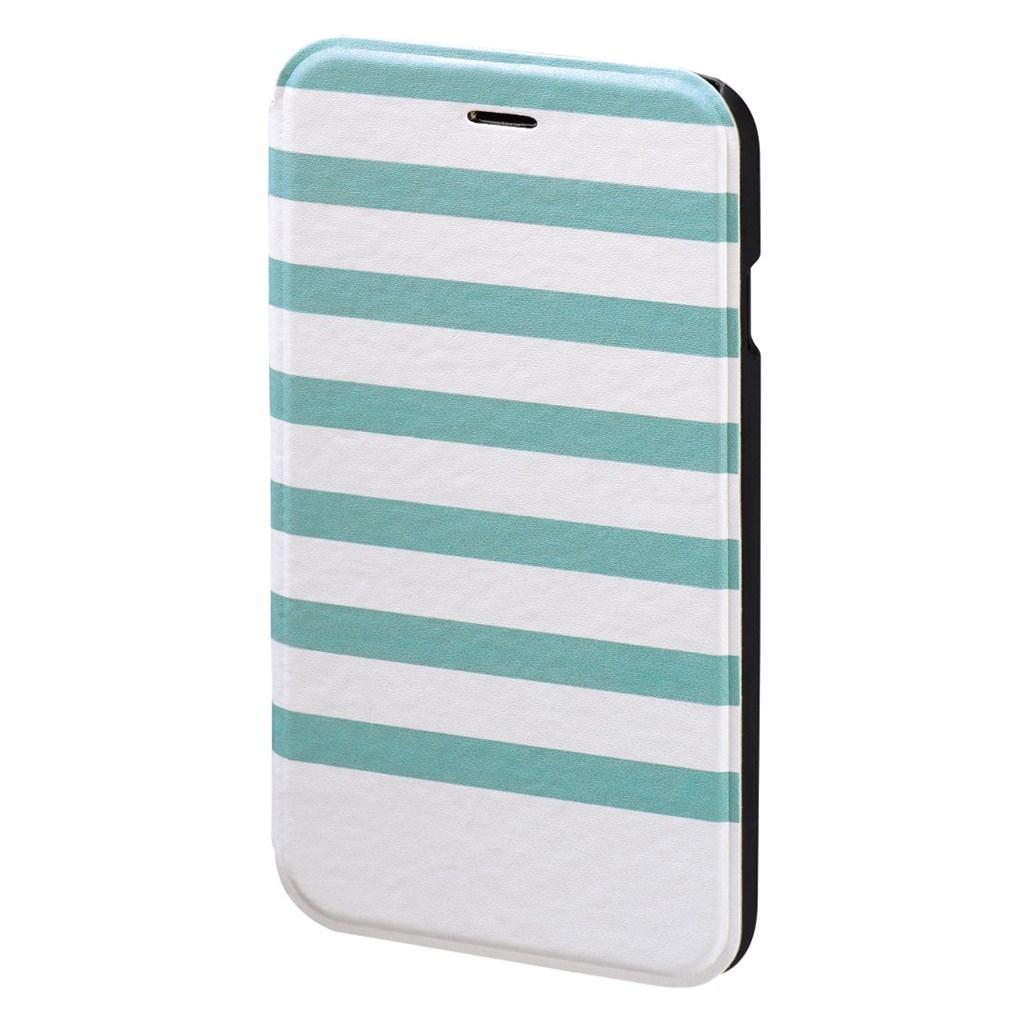 Hama Stripes Booklet Case for Apple iPhone 6/6s, turquoise/white