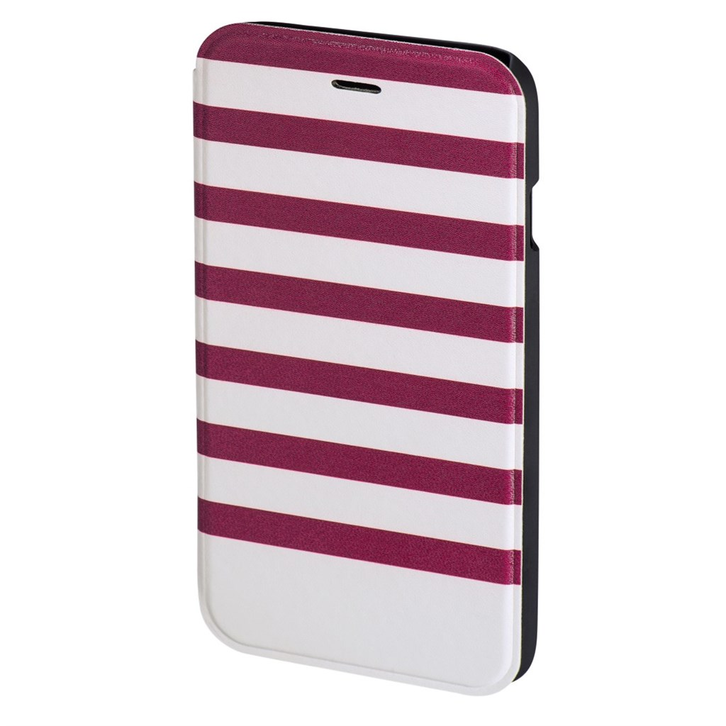 Hama Stripes Booklet Case for Apple iPhone 6/6s, magenta/white