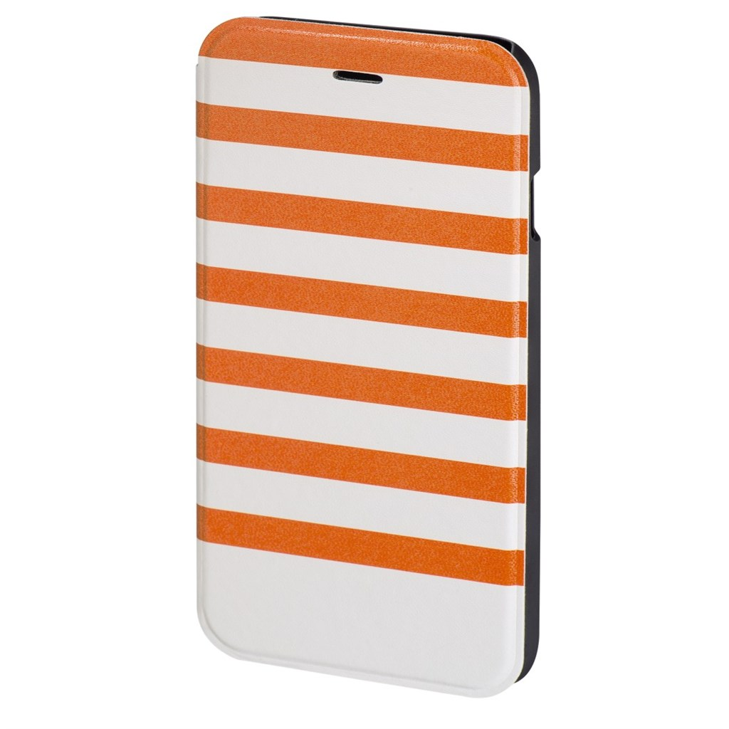 Hama Stripes Booklet Case for Apple iPhone 6/6s, orange/white