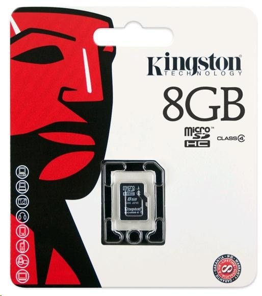 Kingston 8GB Micro SecureDigital (SDHC) Card, Class 4 - pouze karta