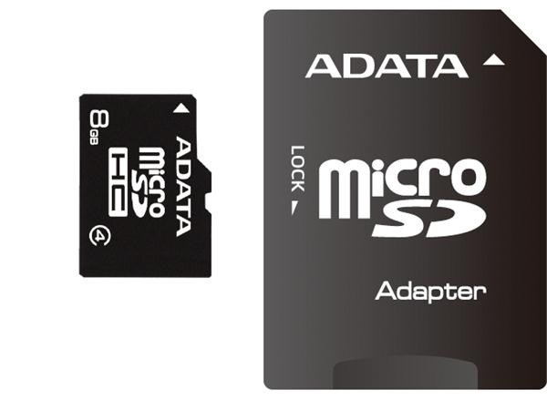 ADATA Micro SDHC karta 8GB Class 4 + SD adaptér