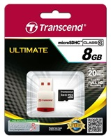 TRANSCEND Micro SDHC Class 10 8GB + Card Reader