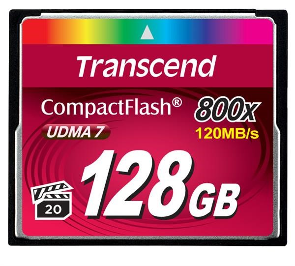 TRANSCEND Compact Flash Card (800x) 128GB (Premium)
