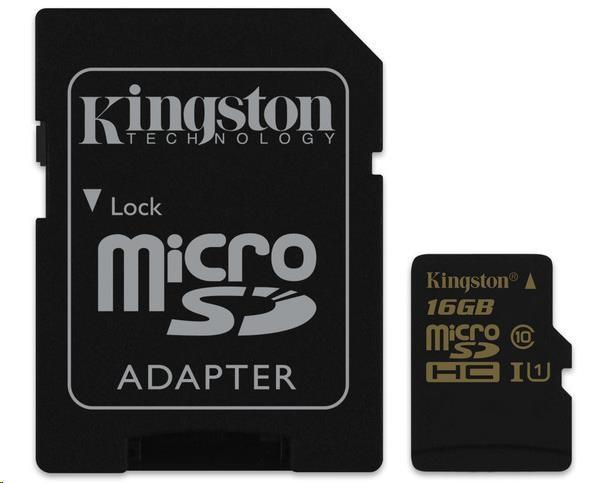 Kingston 16GB Micro SecureDigital (SDHC) Card, Class 10 UHS-I + SD adapter
