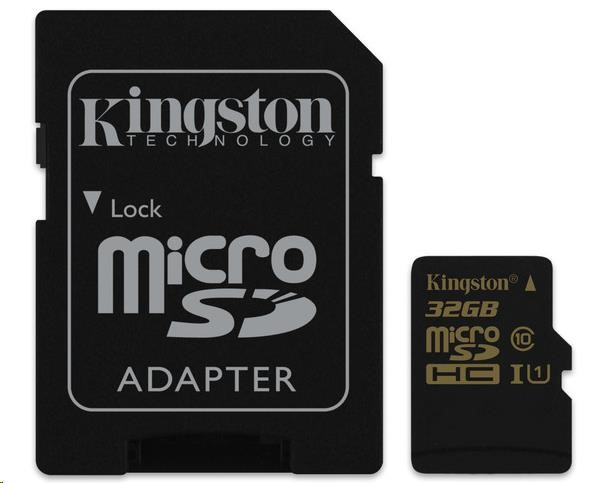 Kingston 32GB Micro SecureDigital (SDHC) Card, Class 10 UHS-I + SD adapter