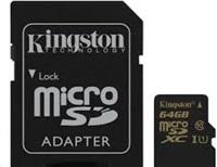 Kingston 64GB Micro SecureDigital (SDXC) Card, Class 10 UHS-I + SD adapter