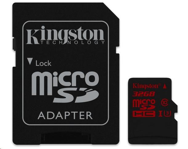 Kingston 32GB Micro SecureDigital (SDHC UHS-I) Card, Class 3 + SD adaptér