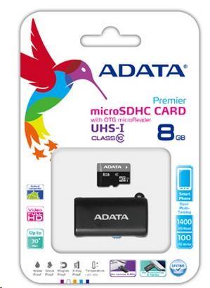 ADATA Micro SDHC karta 8GB UHS-I Class 10 + OTG čtečka USB 2.0, microUSB