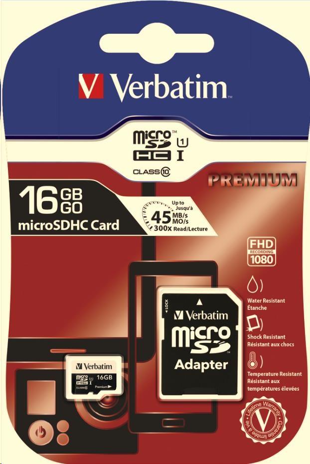 VERBATIM Premium U1 Micro SecureDigital SDHC/SDXC 16GB + SD Adaptér