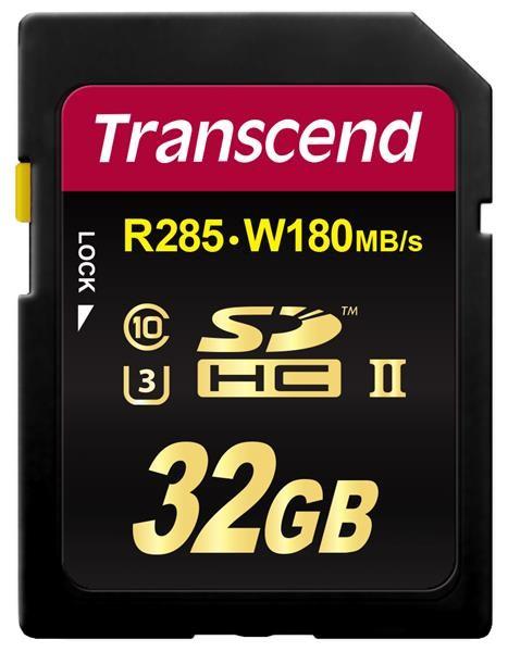 TRANSCEND SDHC Class 3 UHS-II SD2U3, 32GB (R285, W180 MB/s)